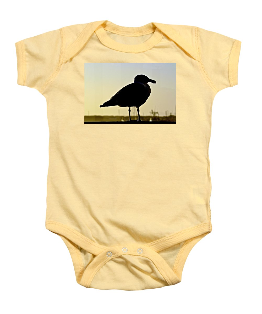Gull Baby Onesie featuring the photograph Gull At Sunset by Bill Owen