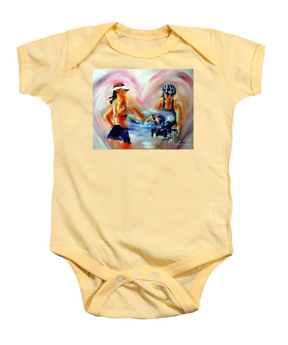 Triathlete Artwork Baby Onesie featuring the painting Heart Of The Triathlete by Sandy Ryan