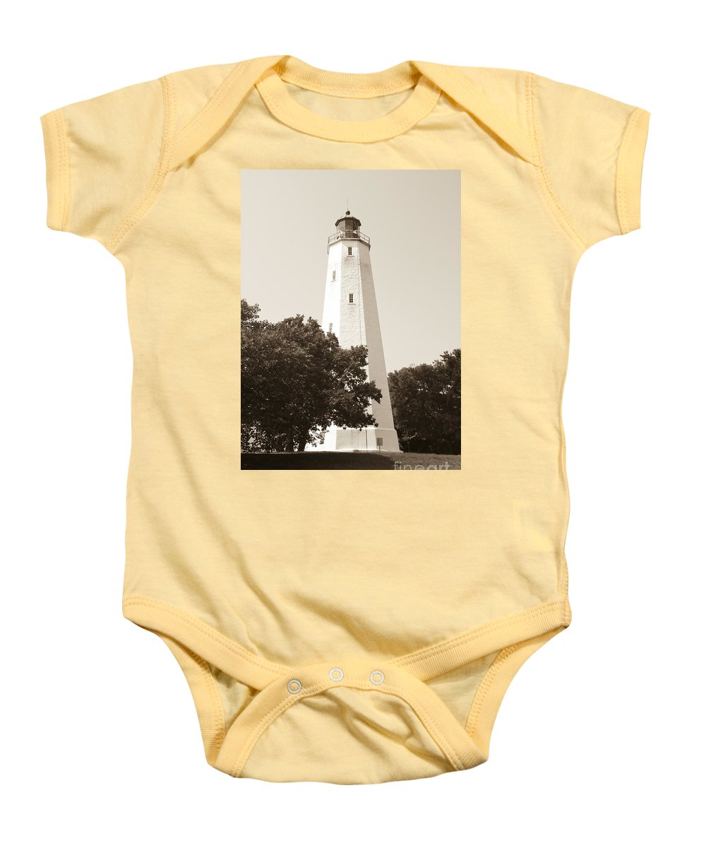 Lighthouses Baby Onesie featuring the photograph Historic Sandy Hook Lighthouse by Anthony Sacco