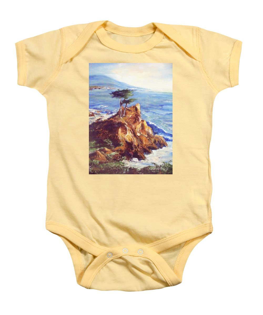 Seascape Baby Onesie featuring the painting Imaginary Cypress by Eric Schiabor