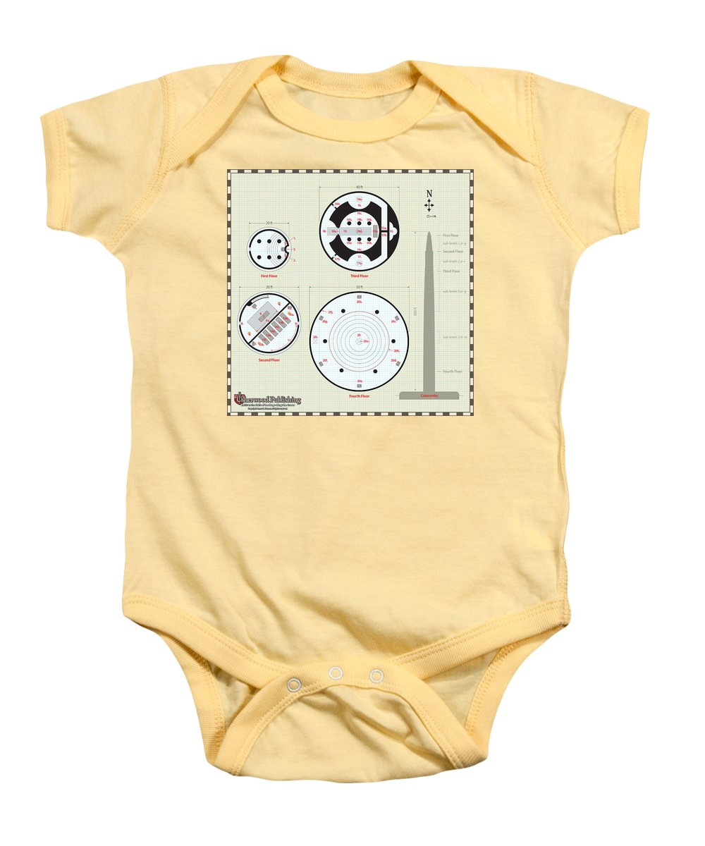 Usherwood Baby Onesie featuring the digital art In The Halls Of The Mage-king Tower Levels by James Kramer