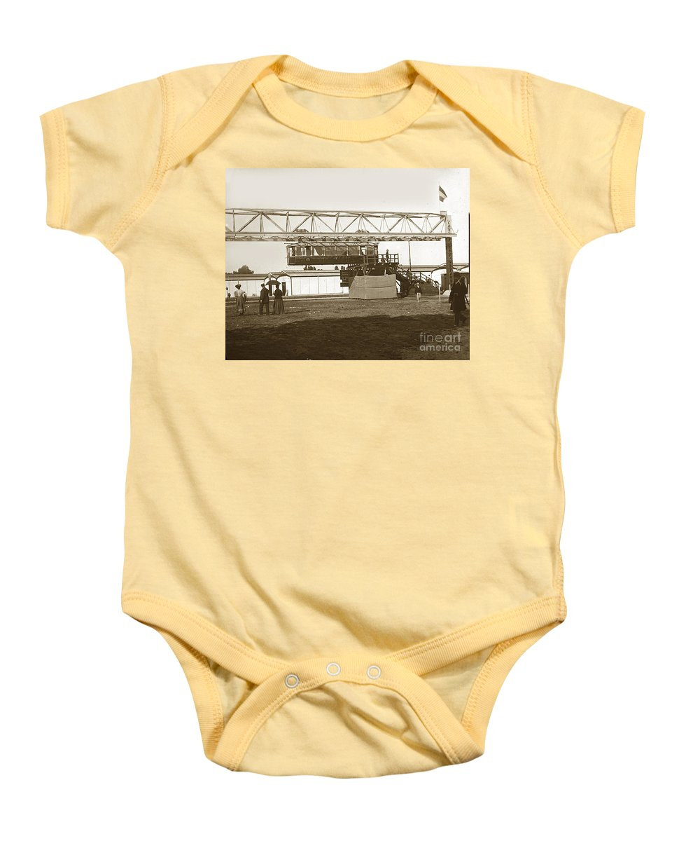 1900 Baby Onesie featuring the photograph Incredible Hanging Railway 1900 by California Views Mr Pat Hathaway Archives