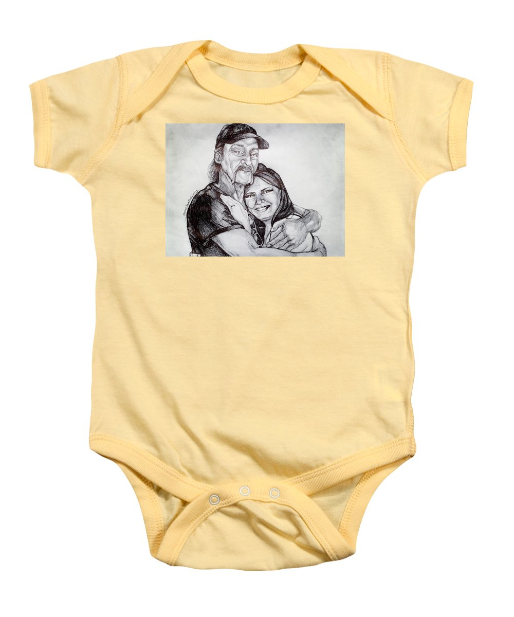 Baby Onesie featuring the drawing Ink Portrait Of My Father And I by Shana Rowe Jackson
