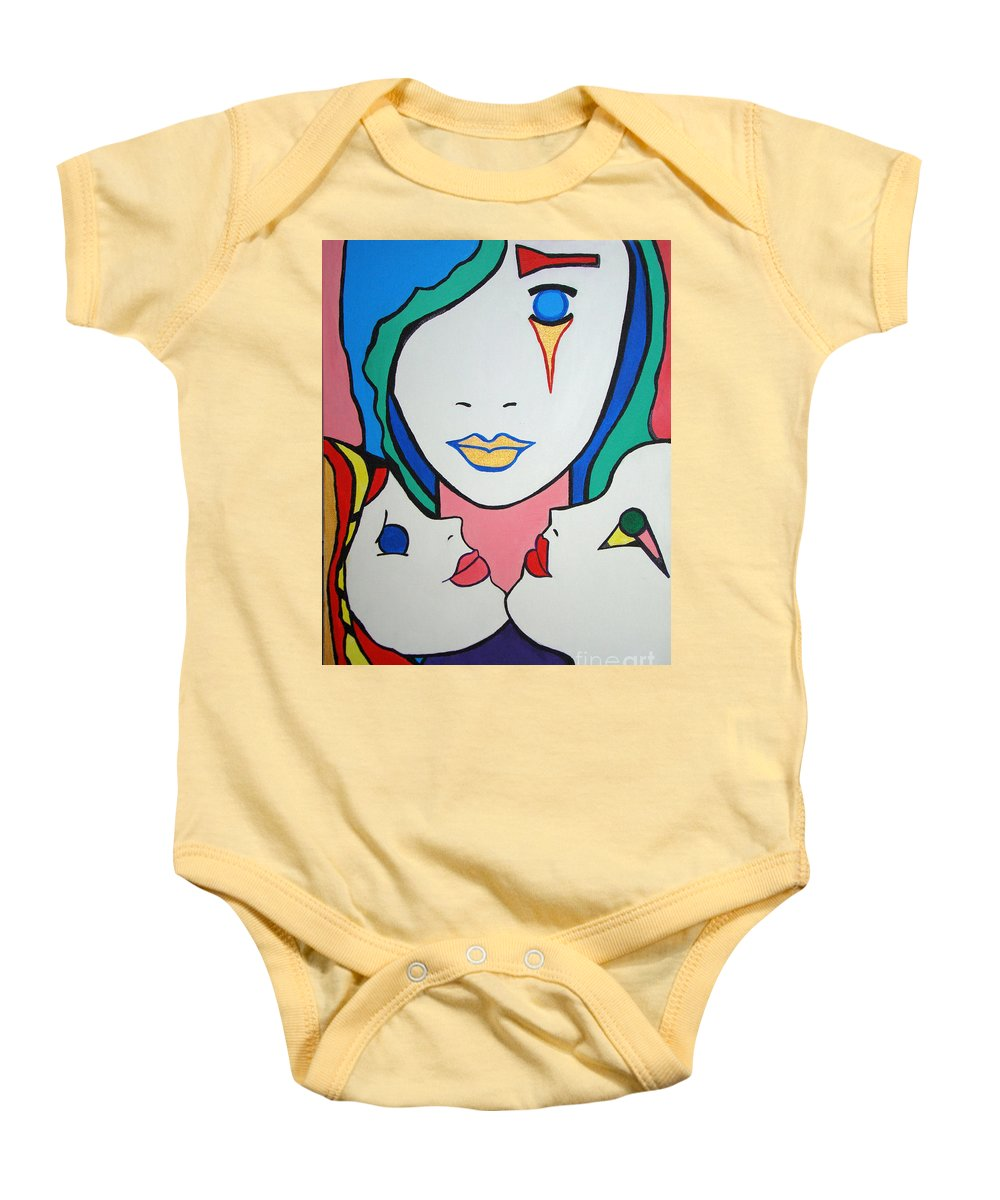 Pop Art Baby Onesie featuring the painting Innocence by Silvana Abel