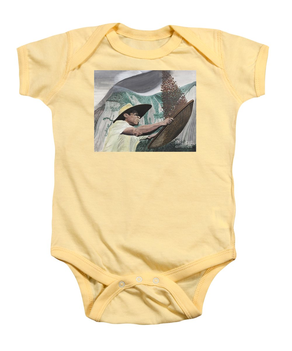 Portrait Baby Onesie featuring the painting Invisible Portrait With A Man Harvesting Coffee by Aaron Joslin