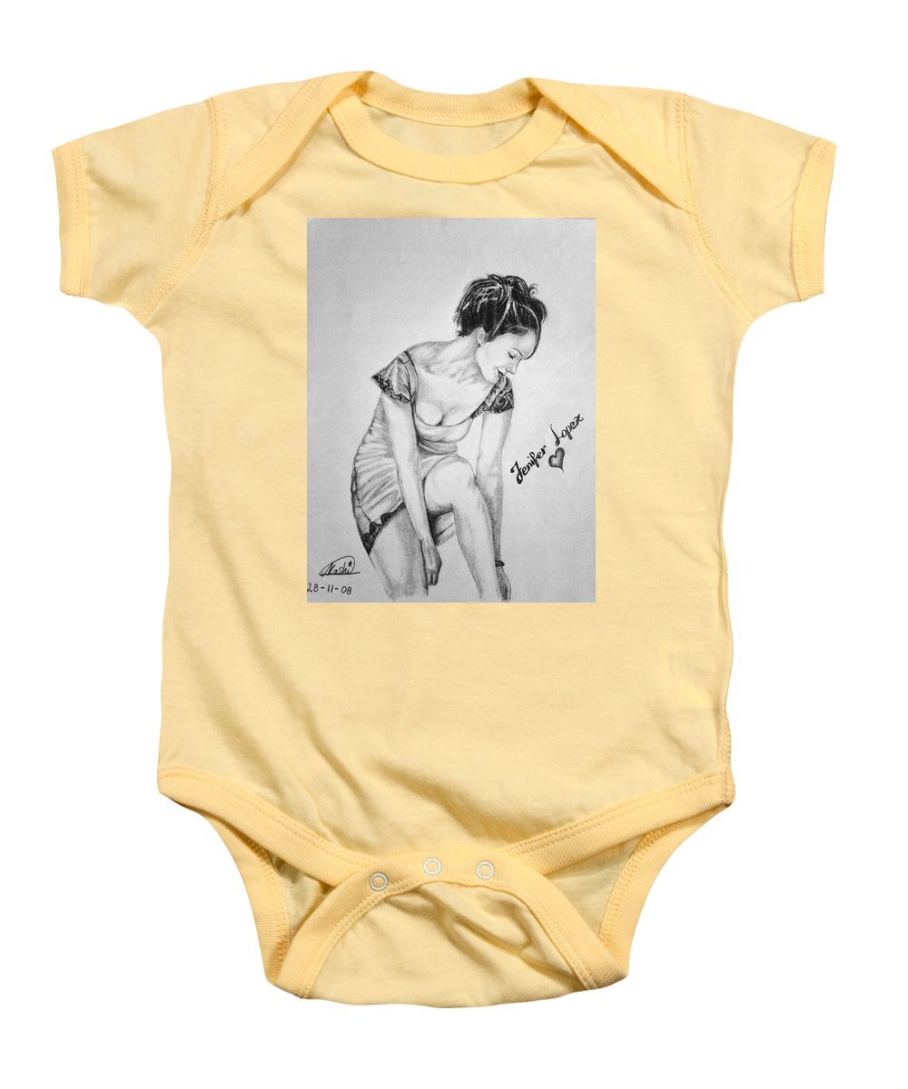 Jennifer Lopez Baby Onesie featuring the drawing Jeniffer Lopez by Alban Dizdari