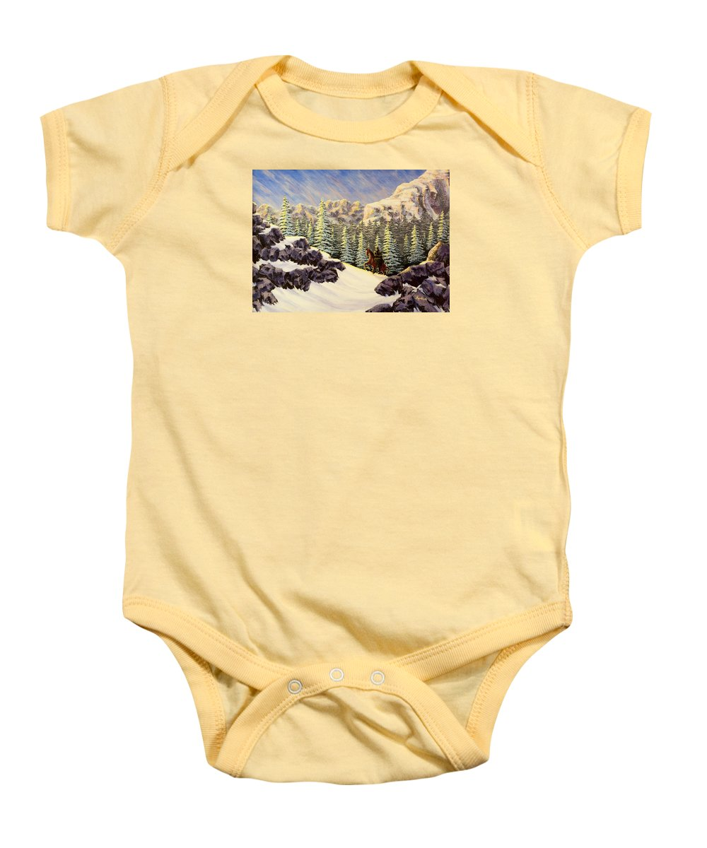 Mountain Pass Baby Onesie featuring the painting Late Crossing by Jack Malloch