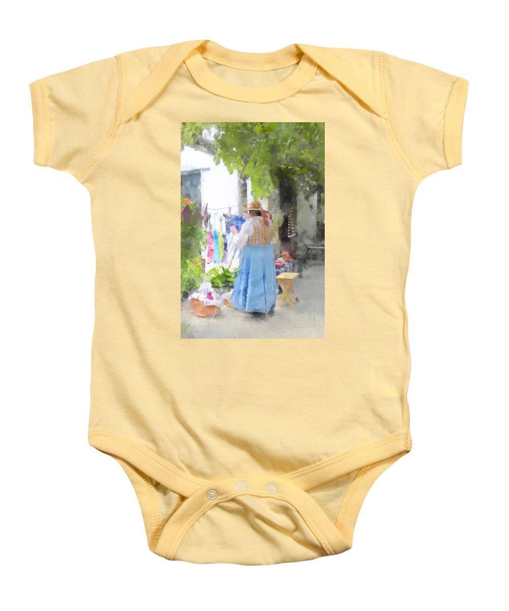 Woman Baby Onesie featuring the digital art Laundry Line Under The Grape Arbor by Francesa Miller