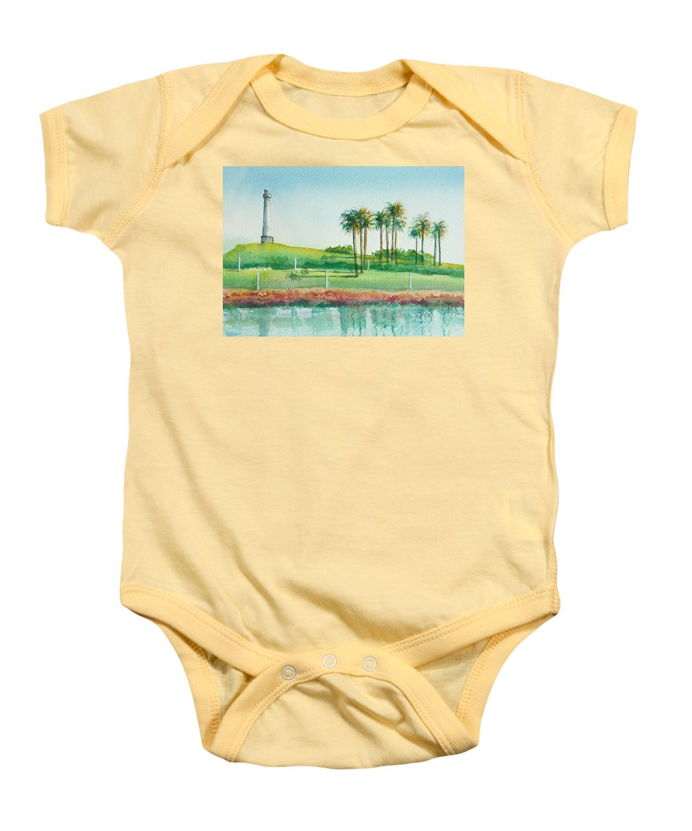 Watercolor Baby Onesie featuring the painting Long Beach Lighthouse by Debbie Lewis