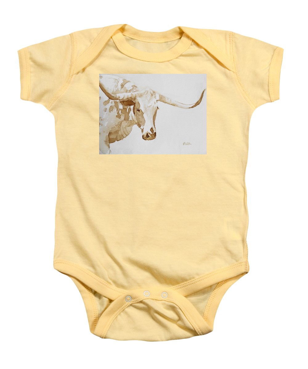 Coffee Baby Onesie featuring the painting Longhorn by Judy Fischer Walton
