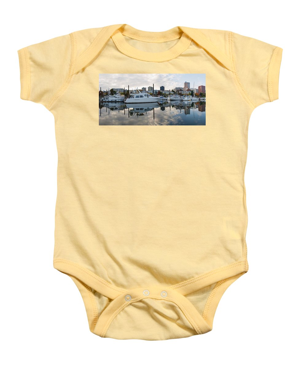 Marina Baby Onesie featuring the photograph Marina On Willamette River In Portland Oregon Downtown by Jit Lim