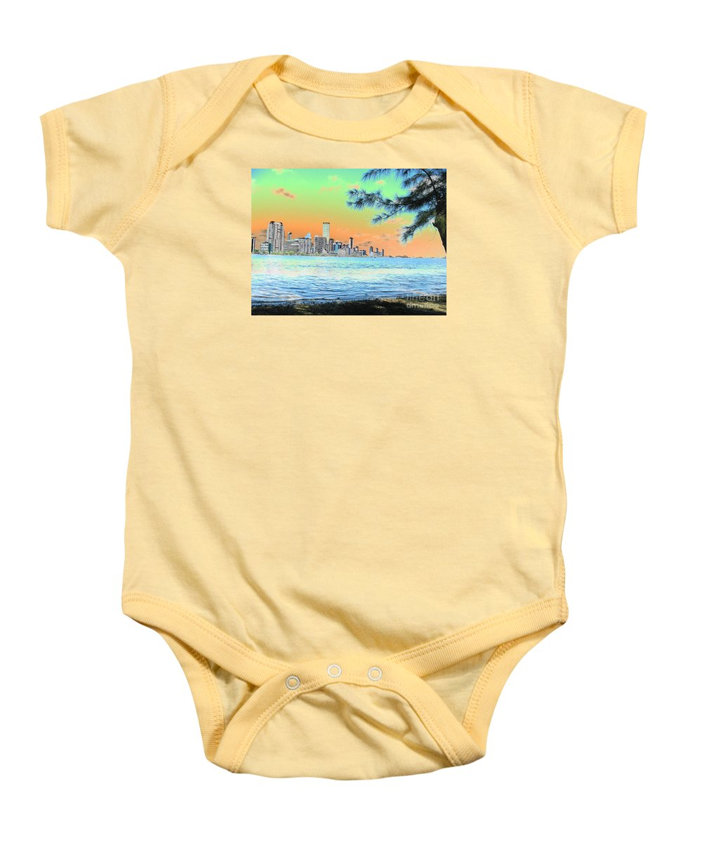 Miami Baby Onesie featuring the photograph Miami Skyline Abstract II by Christiane Schulze Art And Photography