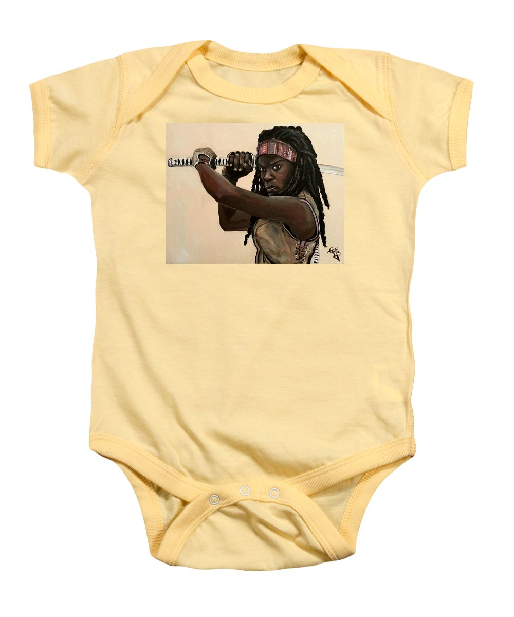 The Walking Dead Baby Onesie featuring the painting Michonne by Tom Carlton
