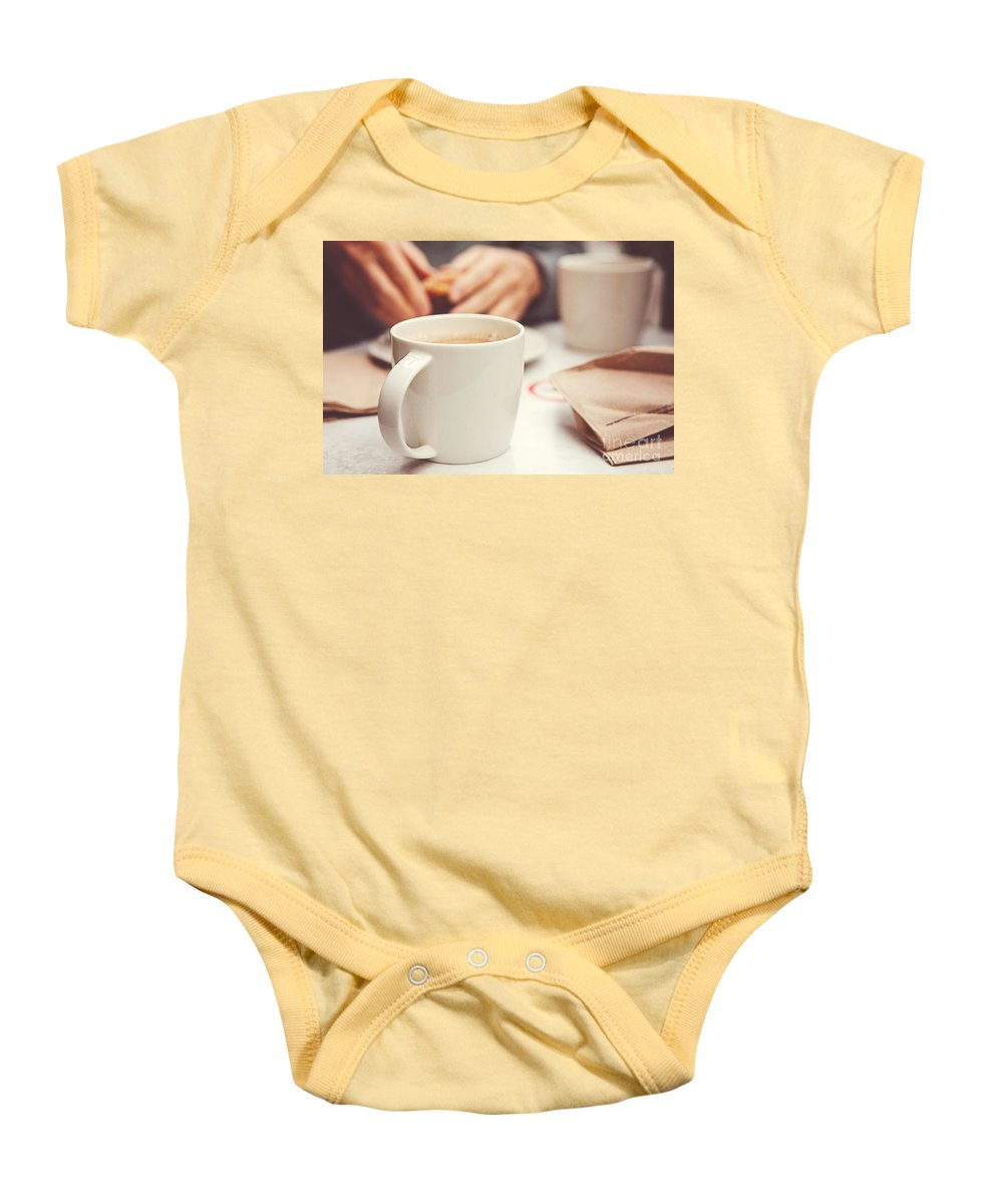 Coffee Baby Onesie featuring the photograph Morning Coffee by Mary Smyth