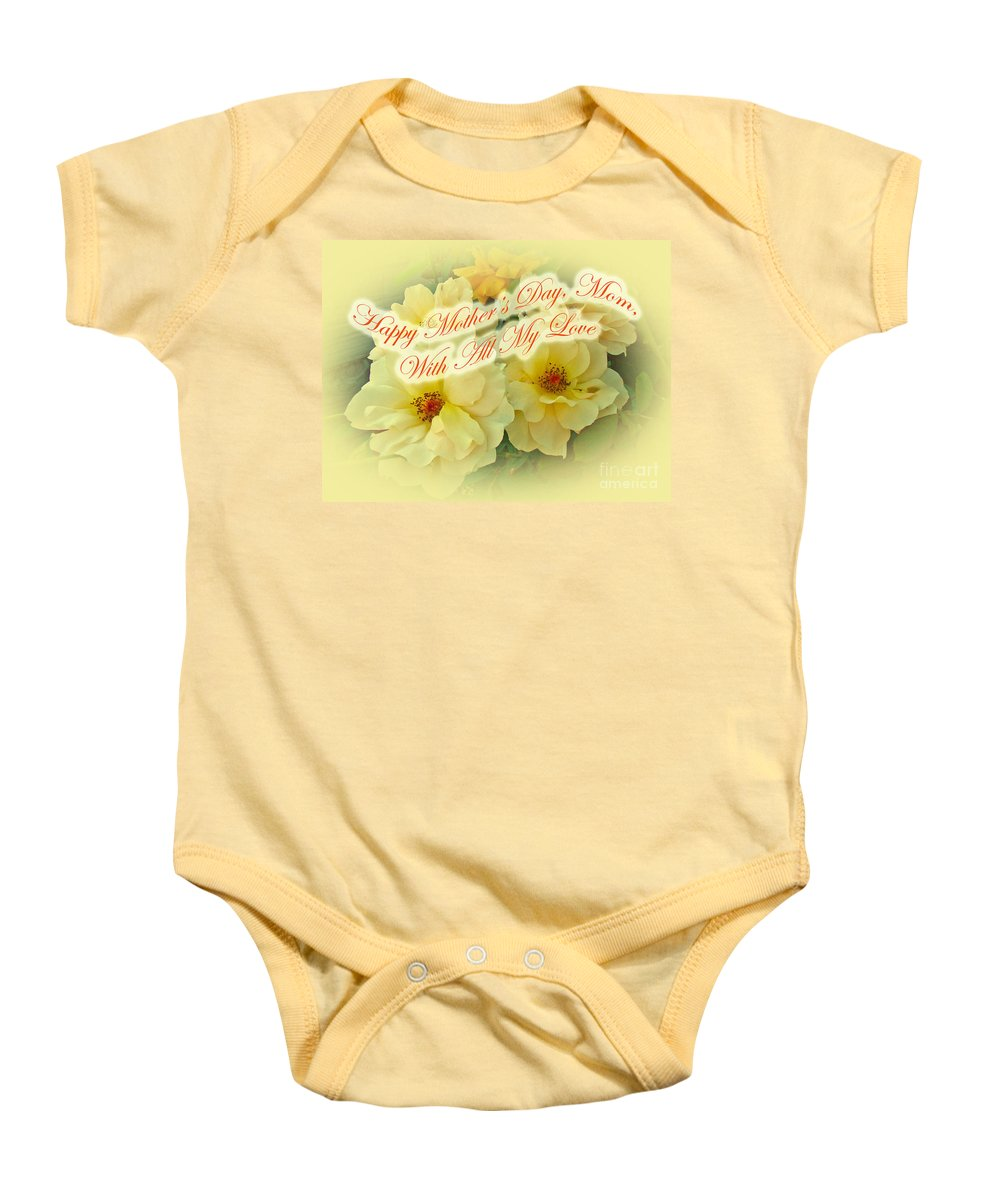 Mothers Day Baby Onesie featuring the photograph Mother's Day Card - Yellow Roses by Mother Nature