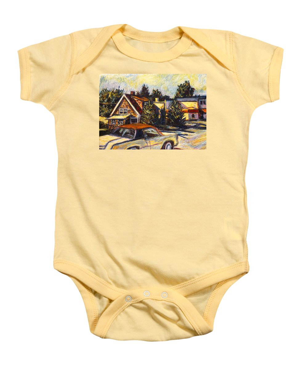 Town Paintings Baby Onesie featuring the painting Near Reeds by Kendall Kessler