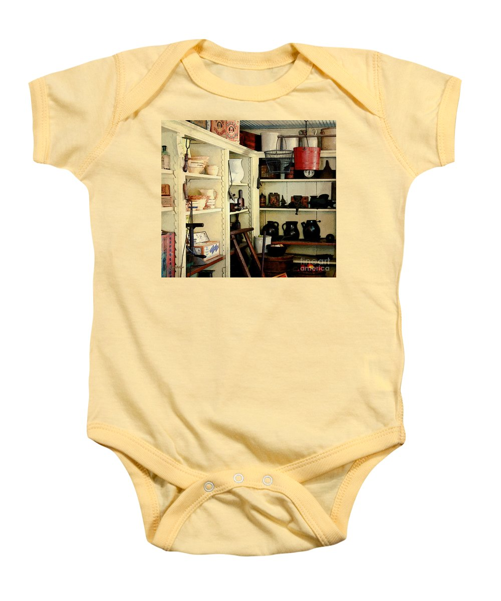 Antiques Baby Onesie featuring the painting Needful Things by RC DeWinter