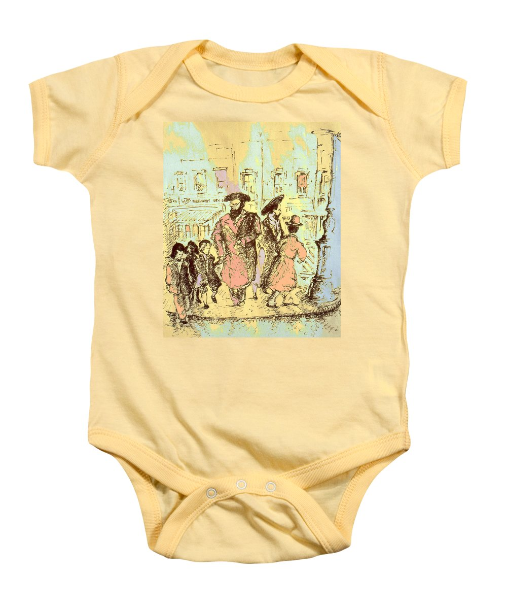 New_york Baby Onesie featuring the drawing New York City Jews - Fine Art by Peter Potter
