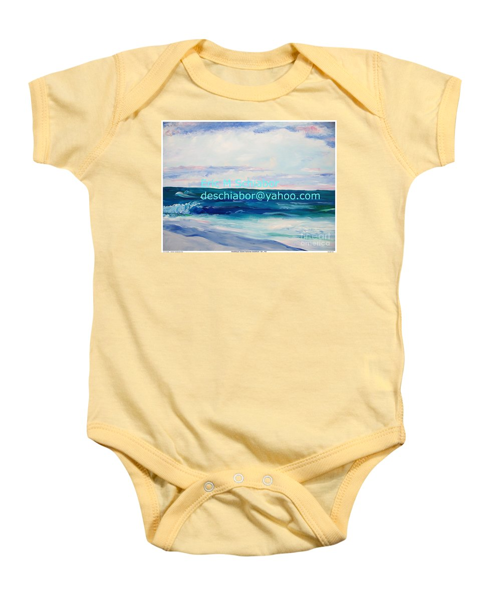 Floral Baby Onesie featuring the painting Ocean Assateague Virginia by Eric Schiabor
