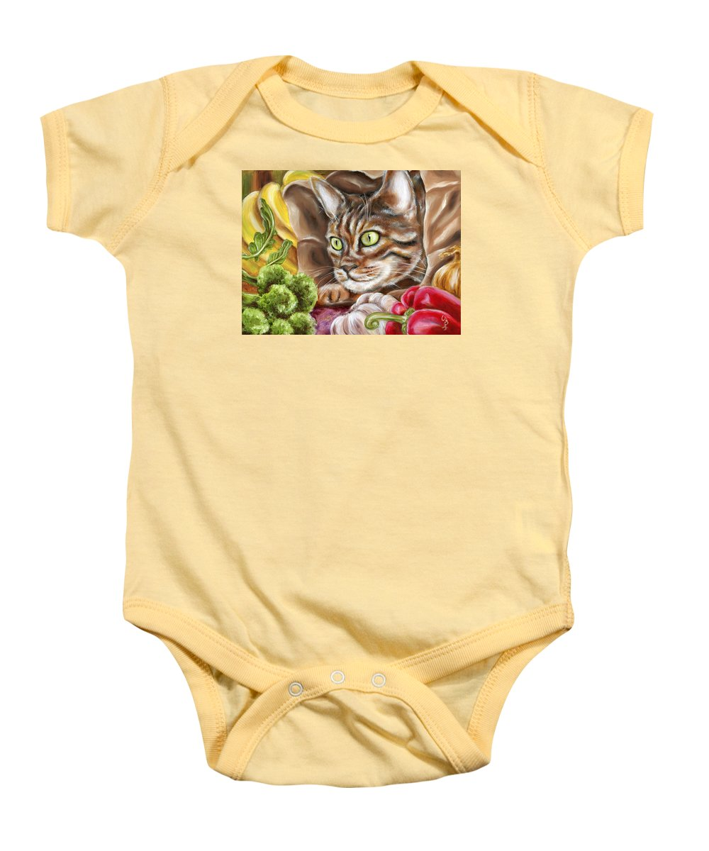 Cat Baby Onesie featuring the painting Ok Now What by Hiroko Sakai