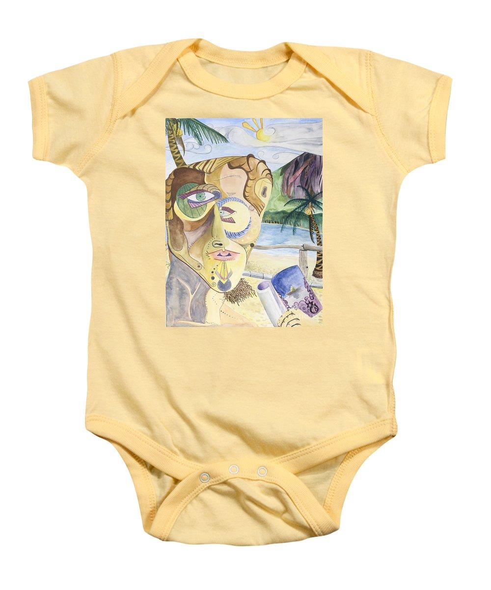 Portrait Baby Onesie featuring the painting Ometepe by Aaron Joslin
