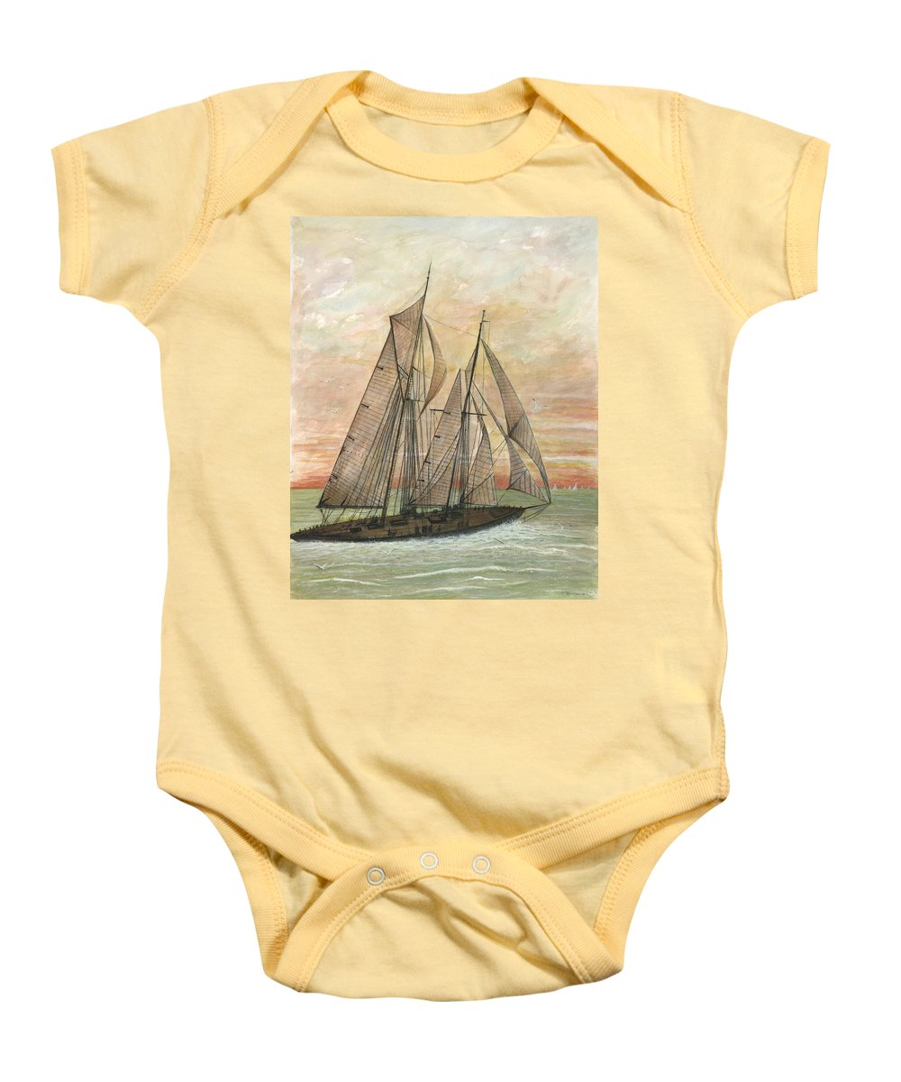Sailboat; Ocean; Sunset Baby Onesie featuring the painting Out To Sea by Ben Kiger