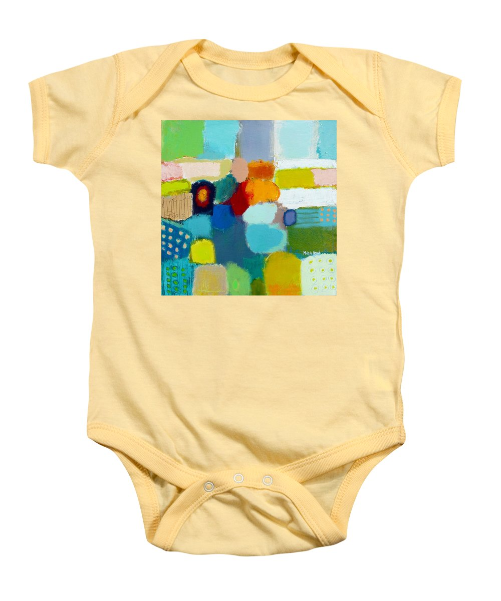 Peace Baby Onesie featuring the painting Peace And Joy 3 by Habib Ayat