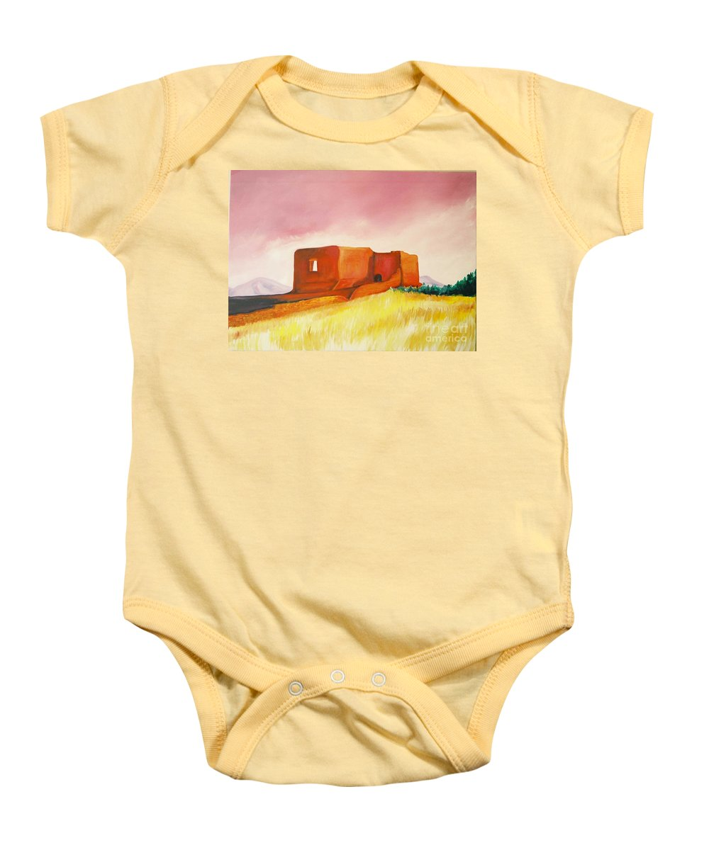 Western Landscapes Baby Onesie featuring the painting Pecos Mission Nm by Eric Schiabor