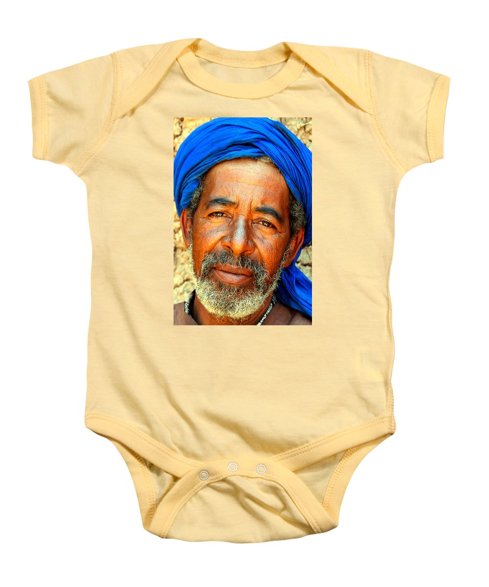 Berber Man Baby Onesie featuring the photograph Portrait Of A Berber Man by Ralph A Ledergerber-Photography