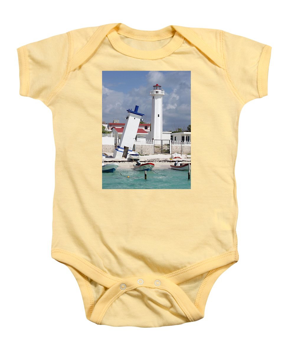 Puerto Morelos Lighthouse Baby Onesie featuring the photograph Puerto Morelos Lighthouse by Ellen Henneke