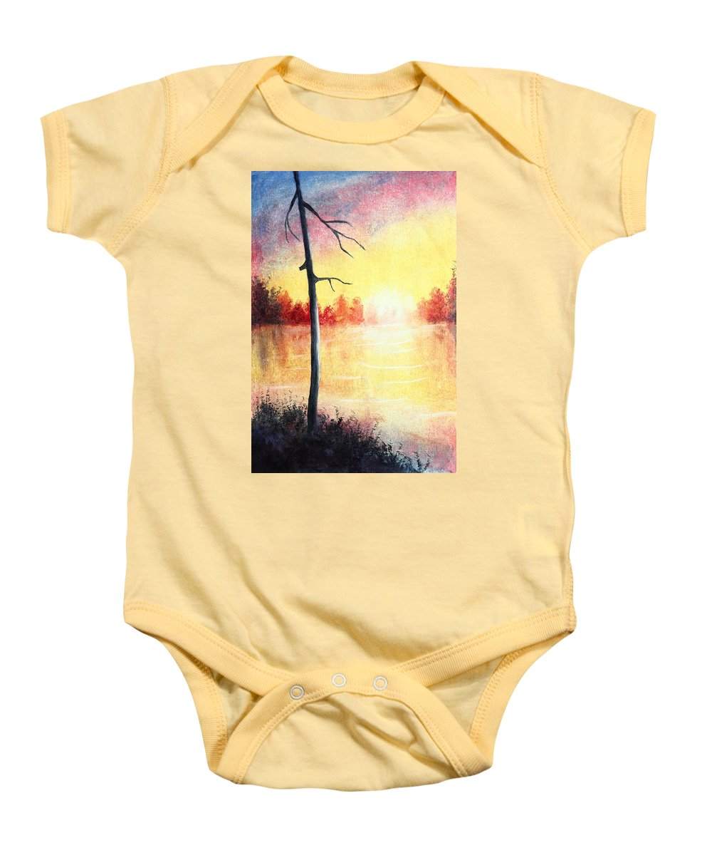 Art Baby Onesie featuring the painting Quiet Evening By The River by Nirdesha Munasinghe