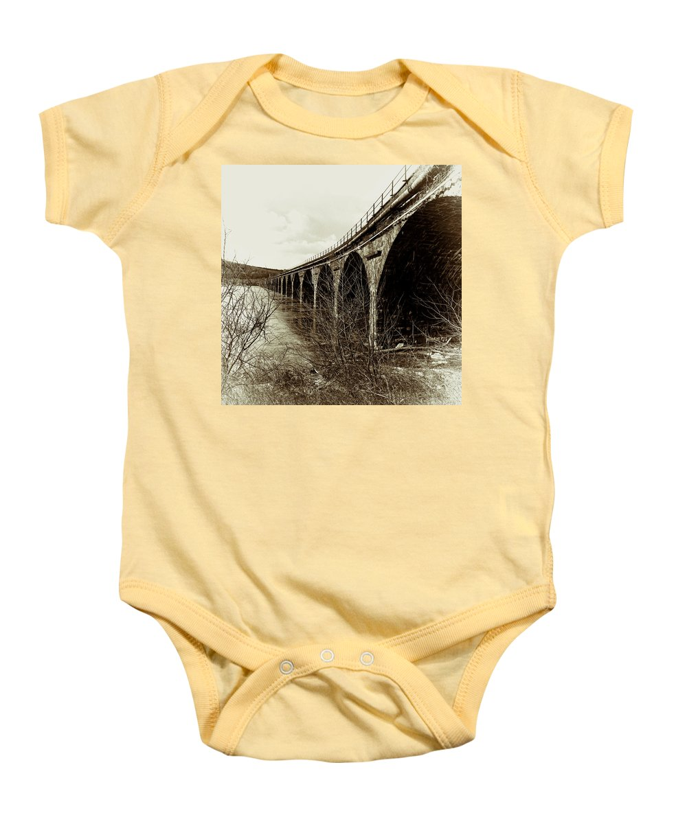 Rockville Baby Onesie featuring the photograph Rockville Bridge by Jean Macaluso