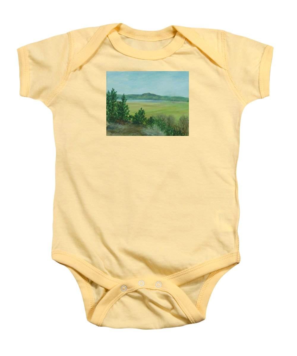 Rural Landscape Painting Baby Onesie featuring the painting Rural Landscape Art Original Colorful Oil Painting Swan Lake Oregon by K Joann Russell