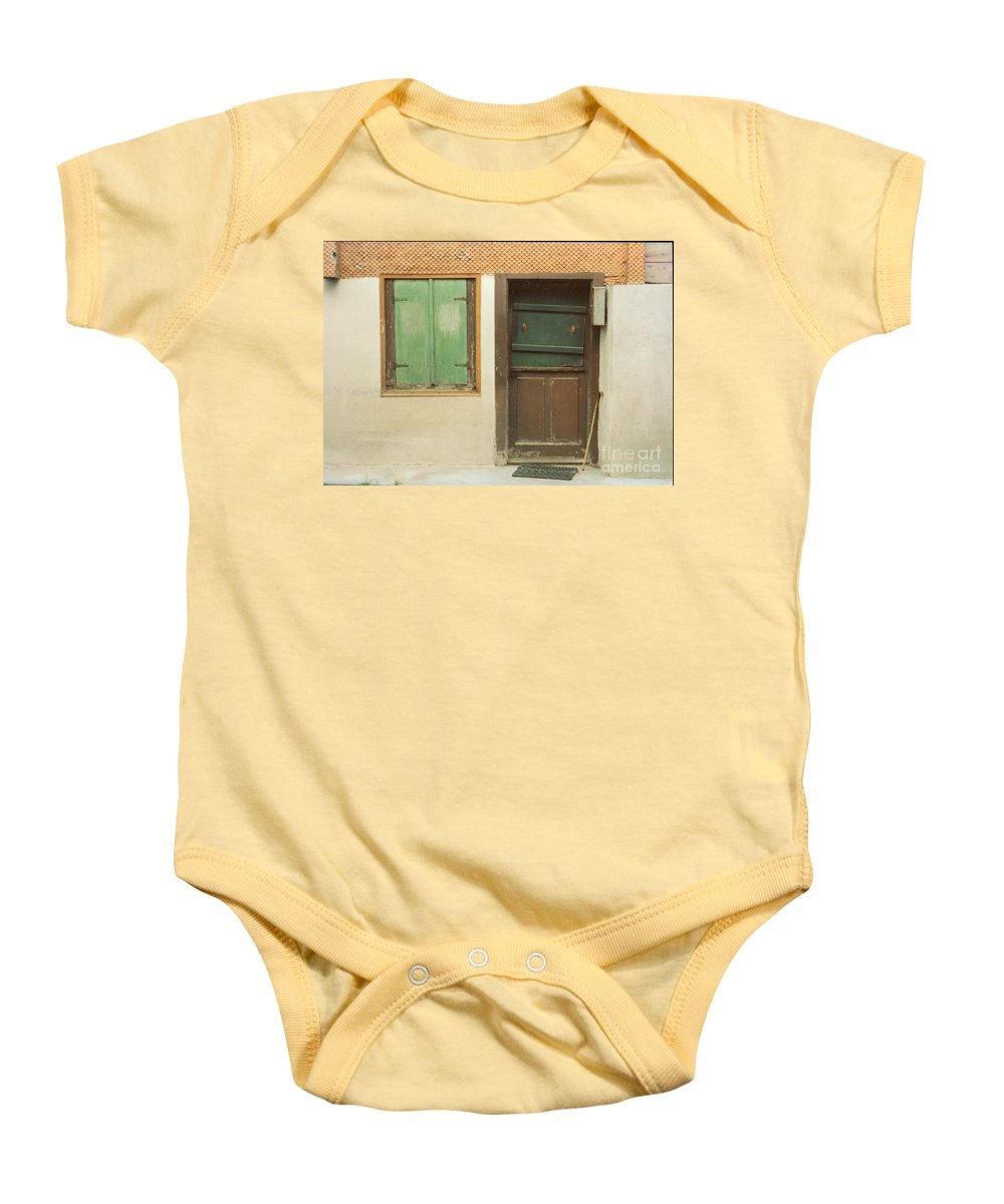 Wooden Door Baby Onesie featuring the photograph Rustic Door by Christine Jepsen