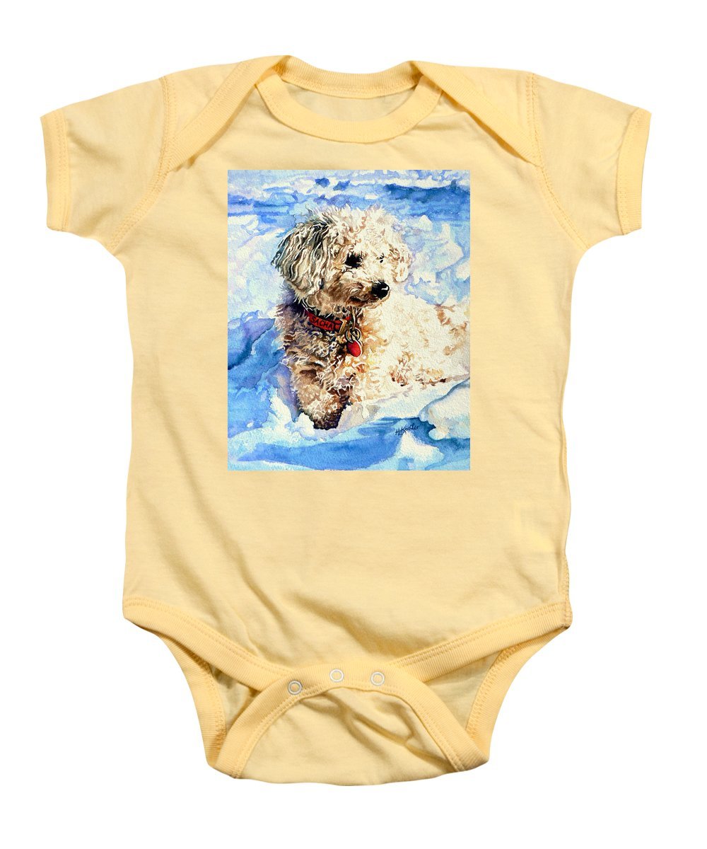 Dog Portrait Baby Onesie featuring the painting Sacha by Hanne Lore Koehler