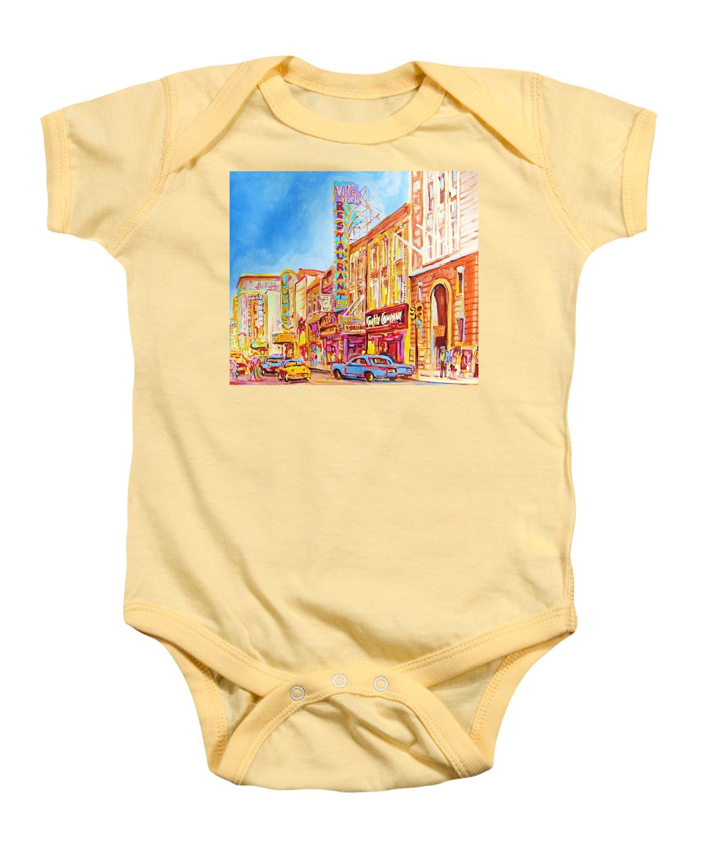 Paintings Of Montreal Baby Onesie featuring the painting Saint Catherine Street Montreal by Carole Spandau