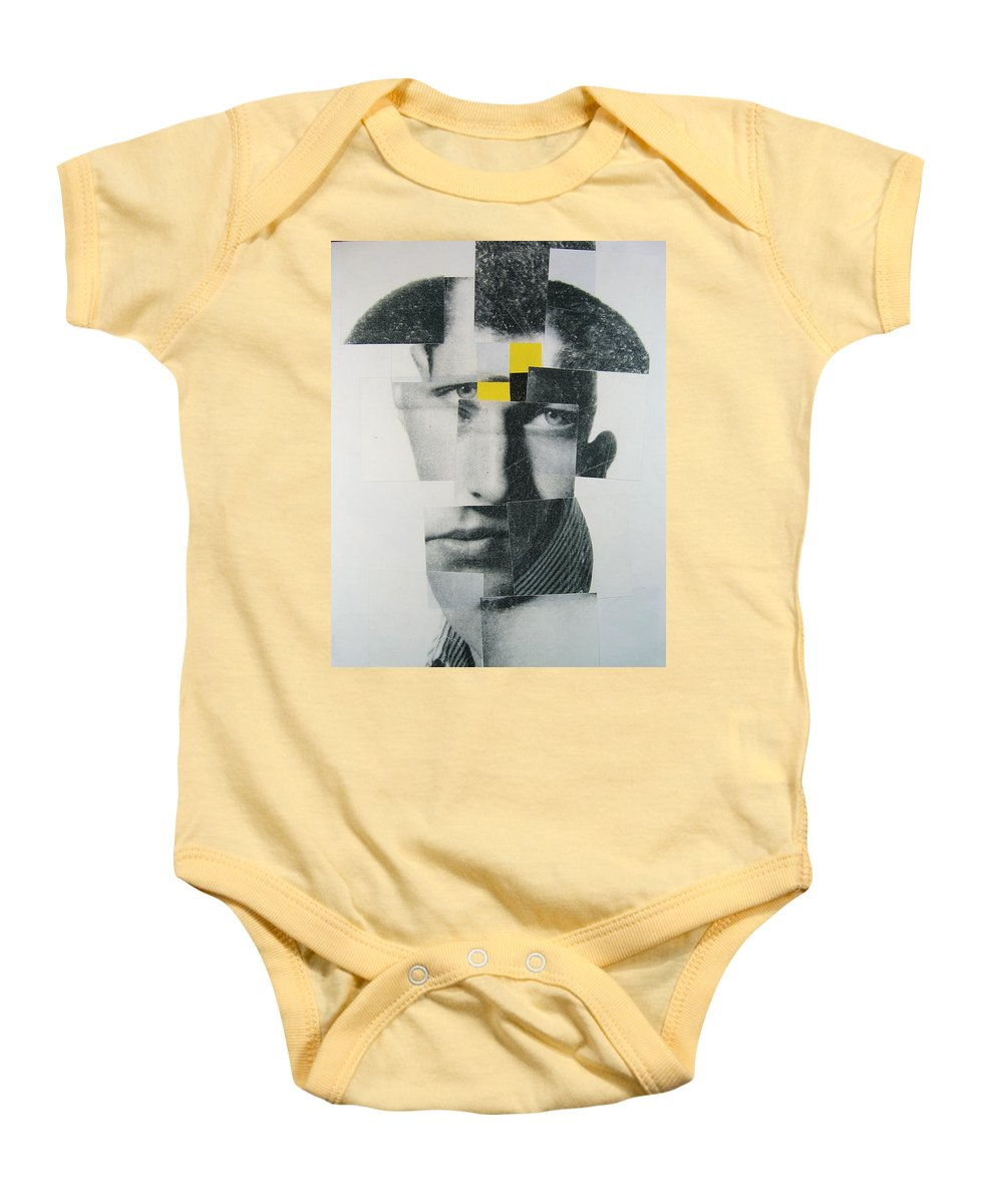 Abstract Portrait Baby Onesie featuring the painting When I Was Young I Was So Much Older Then - Im Younger Then That Now by Cliff Spohn