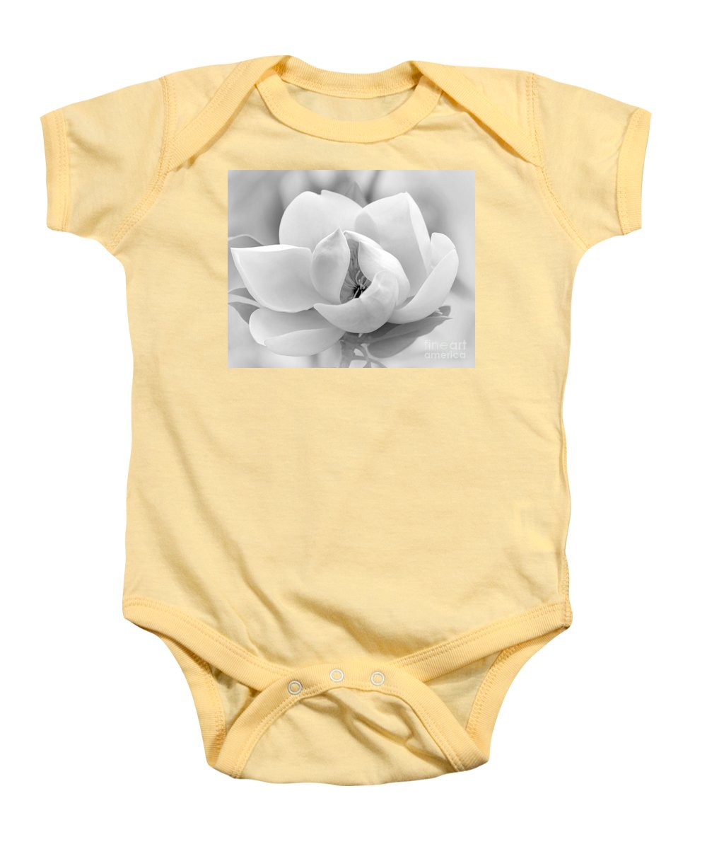 Macro Baby Onesie featuring the photograph Serene Magnolia by Sabrina L Ryan