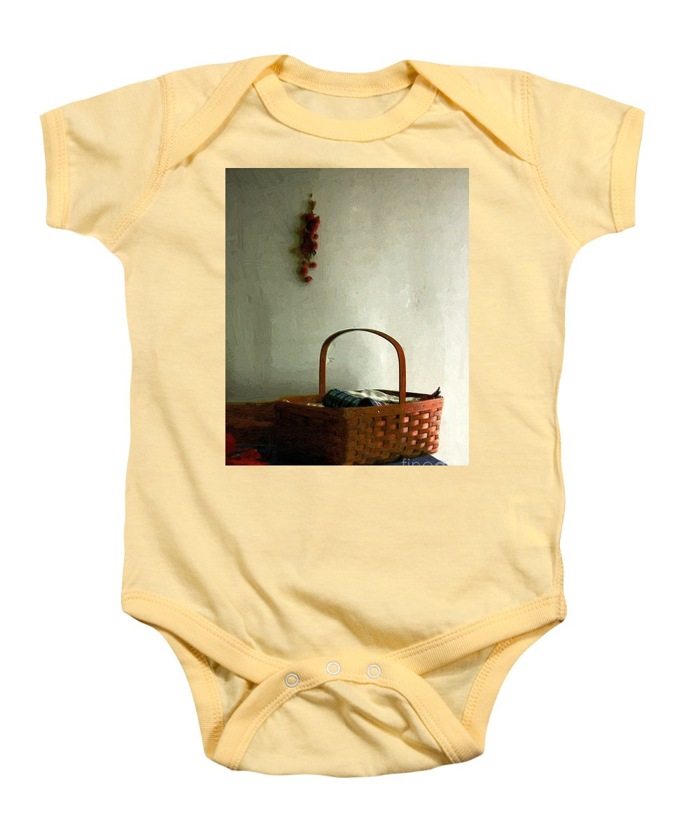 Americana Baby Onesie featuring the painting Sewing Basket In Sunlight by RC DeWinter