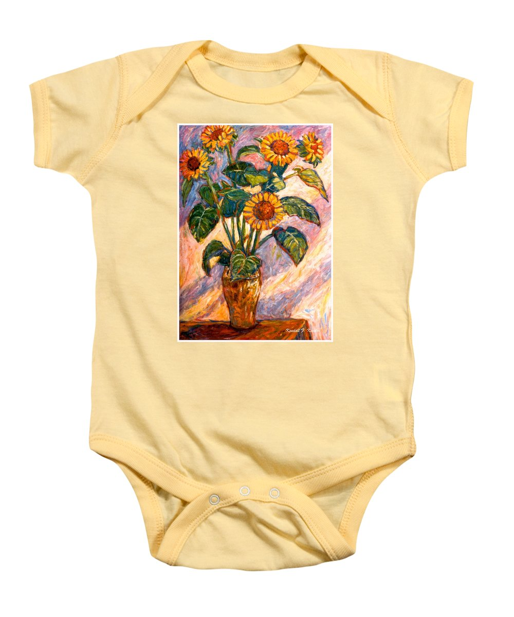 Floral Baby Onesie featuring the painting Shadows On Sunflowers by Kendall Kessler
