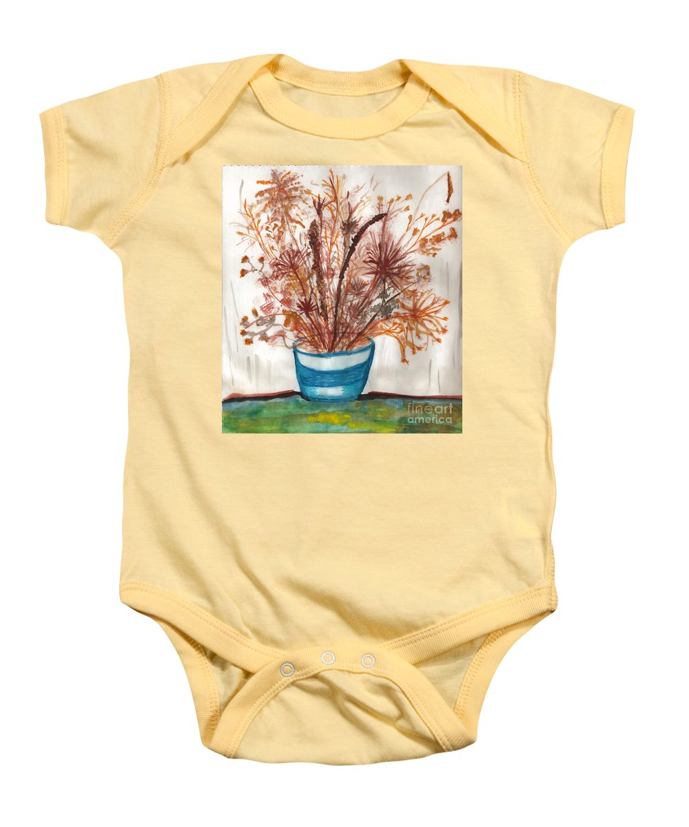 Floral Art Baby Onesie featuring the painting Shaylynne And Vaughn's Bouquet by Myrtle Joy