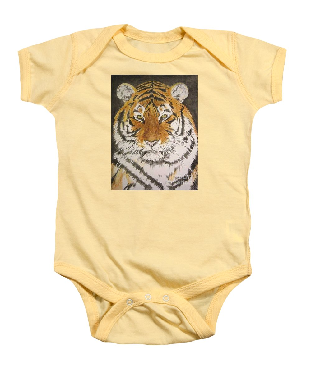 Siberian Tiger Baby Onesie featuring the painting Siberian Tiger by Regan J Smith