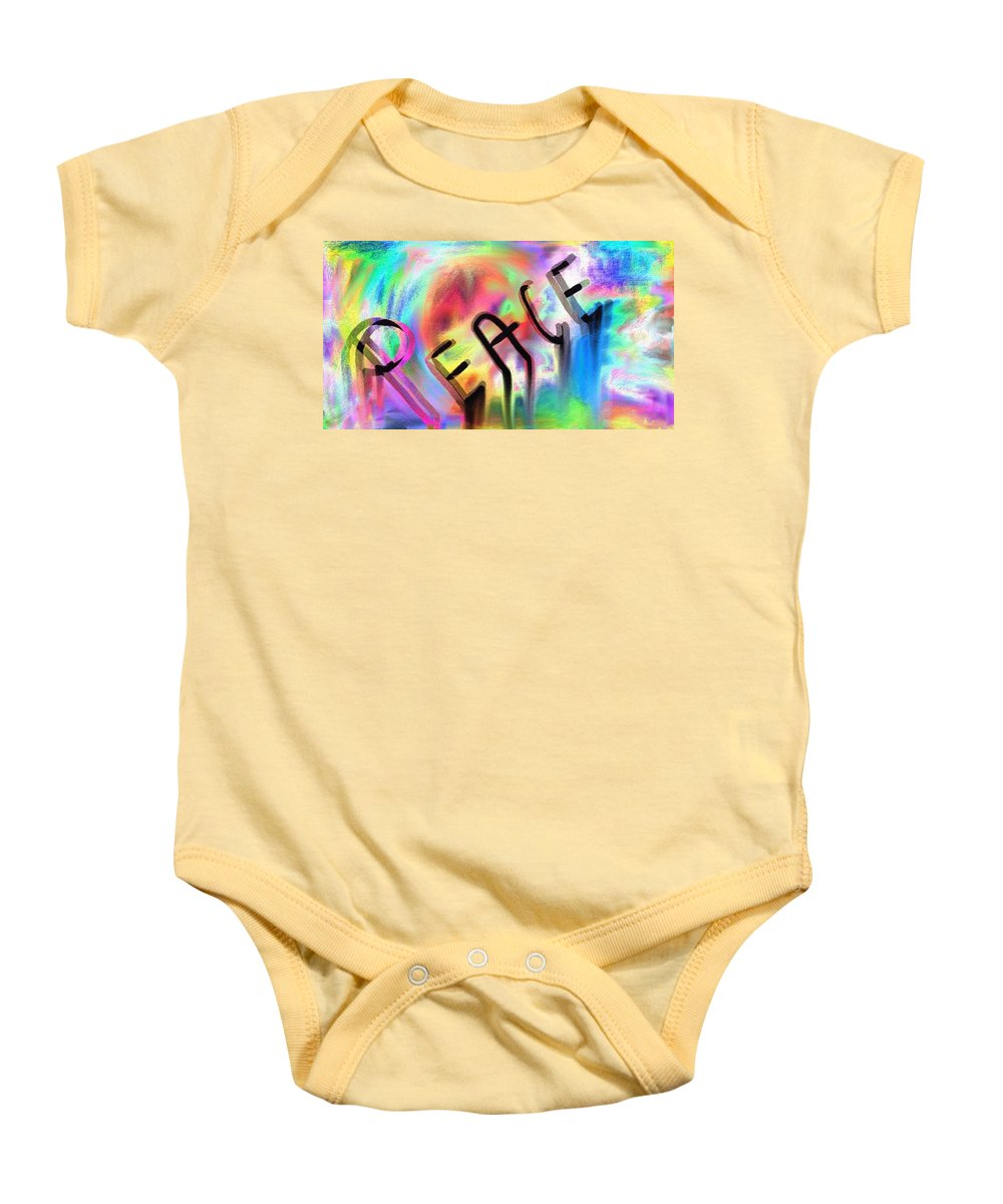 Peace Baby Onesie featuring the digital art Signs Of Peace by Lady Ex