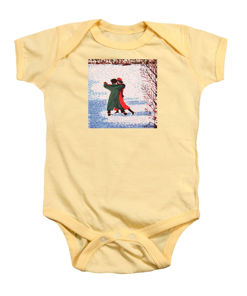 Snow Baby Onesie featuring the painting Snow Tango by Alan Hogan