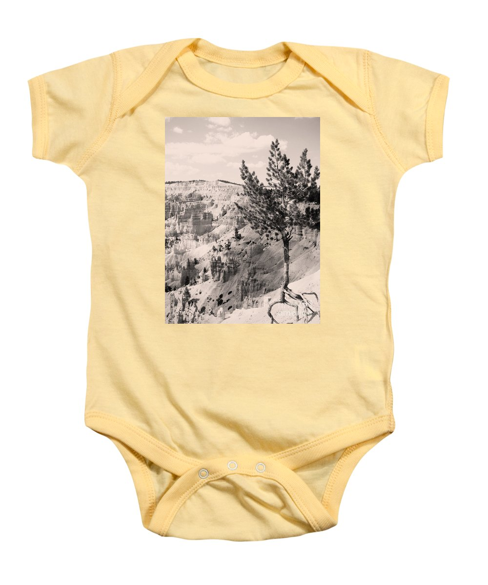 Bryce Canyon Baby Onesie featuring the photograph Soft And Stalwart by Meghan at FireBonnet Art