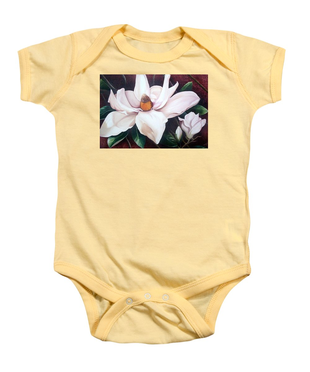 Magnolia Southern Bloom Floral Botanical White Baby Onesie featuring the painting Southern Beauty by Karin Dawn Kelshall- Best