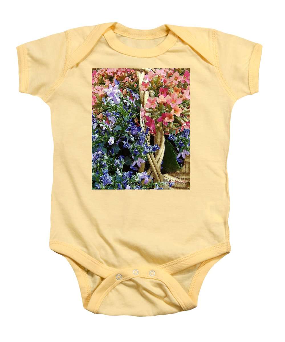Basket Baby Onesie featuring the painting Spring In A Basket by RC DeWinter