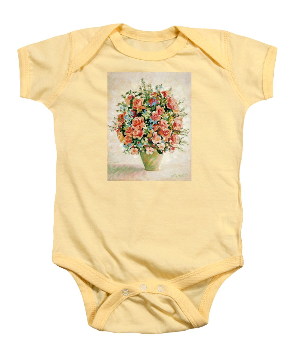 Flowers Baby Onesie featuring the painting Still Life With Roses by Iliyan Bozhanov