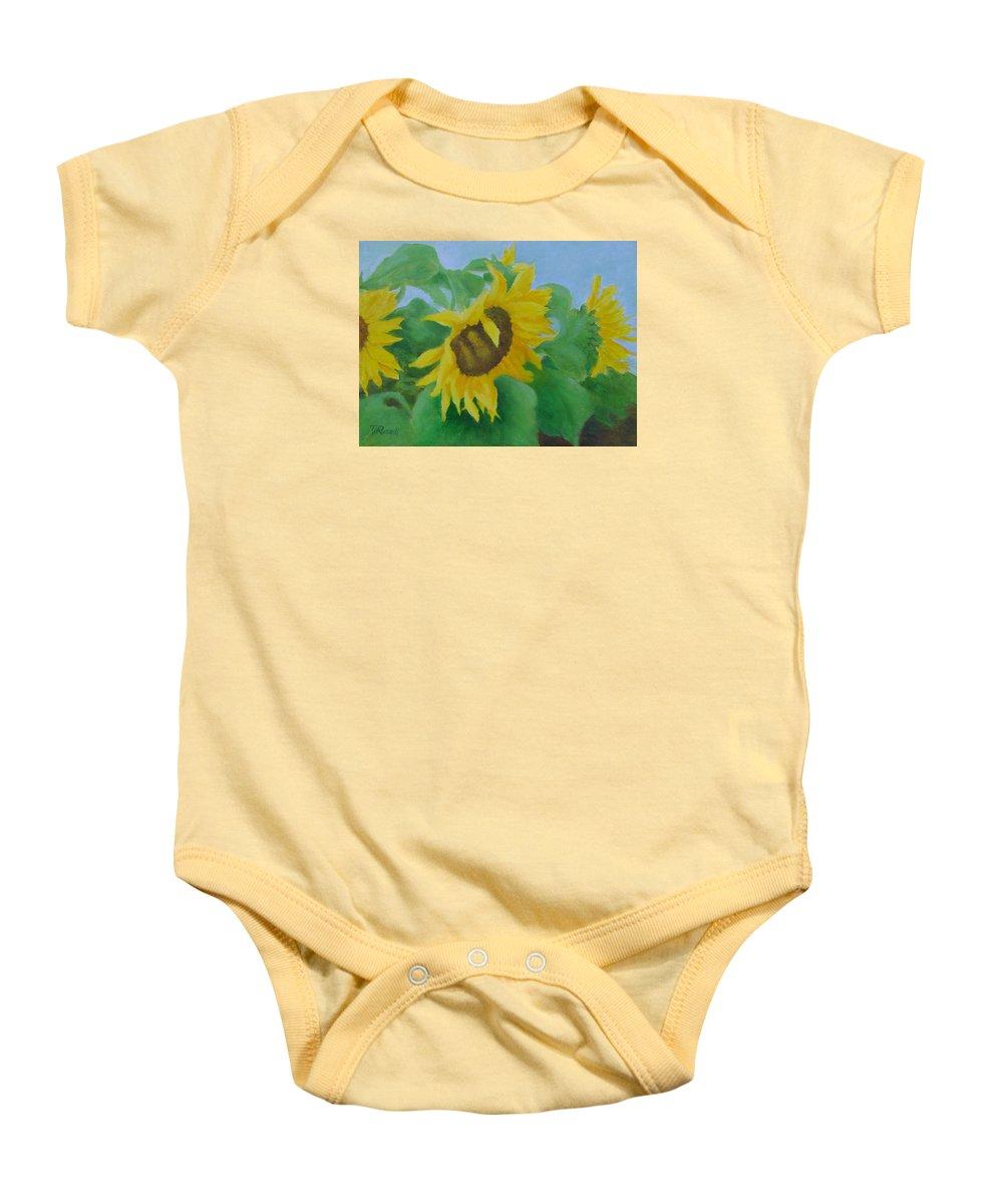 Original Sunflowers Painting Baby Onesie featuring the painting Sunflowers In The Wind Colorful Original Sunflower Art Oil Painting Artist K Joann Russell      by K Joann Russell