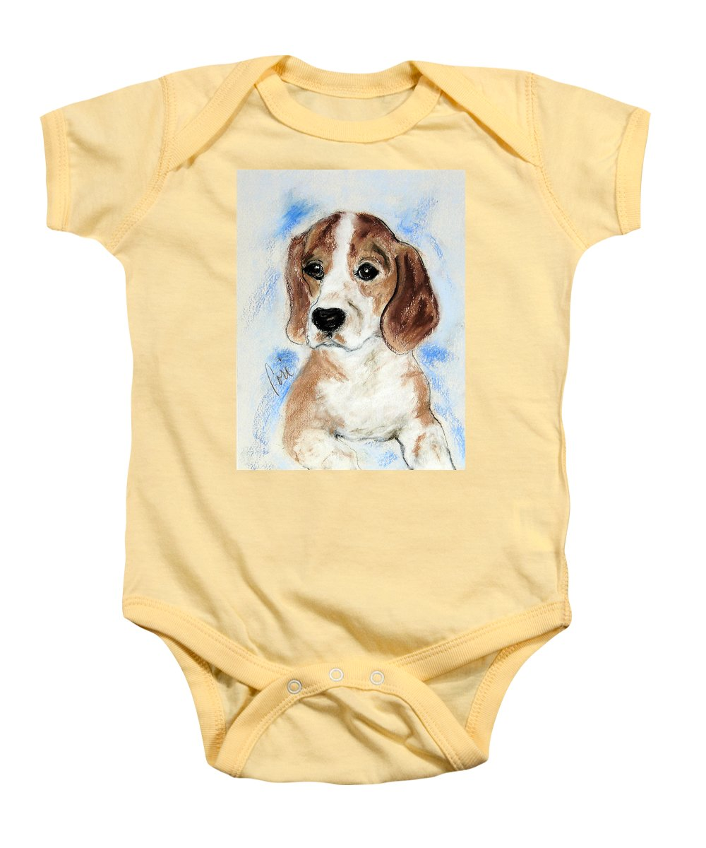 Dog Baby Onesie featuring the drawing Sweet Innocence by Cori Solomon